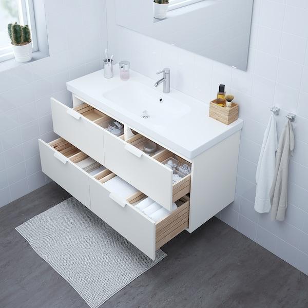 GODMORGON / ODENSVIK Skab til vask med 4 skuffer, hvid/DALSKÄR blandingsbatteri, 123x49x64 cm
