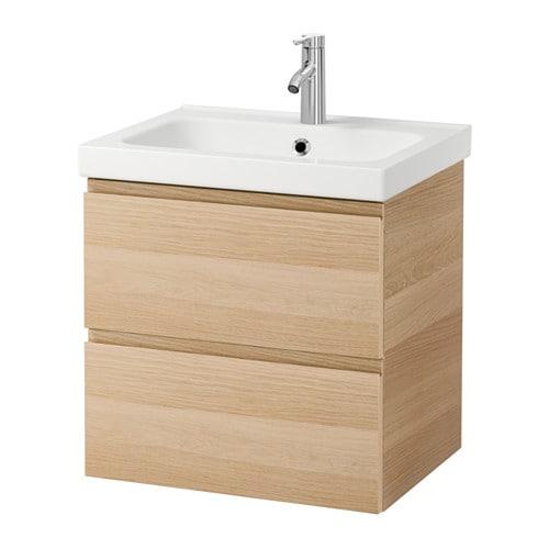 håndvask ikea GODMORGON / ODENSVIK Skab til vask med 2 skuffer   egetræsmønster  håndvask ikea