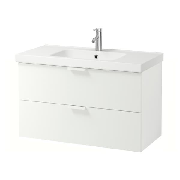 GODMORGON / ODENSVIK skab til vask med 2 skuffer hvid/DALSKÄR blandingsbatteri 103 cm 100 cm 49 cm 64 cm