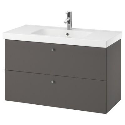 GODMORGON / ODENSVIK skab til vask med 2 skuffer Gillburen mørkegrå/DALSKÄR blandingsbatteri 103 cm 60 cm 49 cm 64 cm