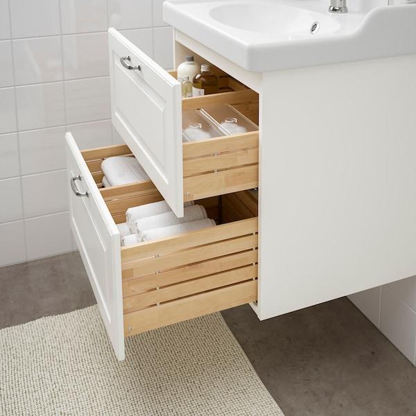 GODMORGON / RÄTTVIKEN Skab til vask med 2 skuffer, Kasjön hvid/HAMNSKÄR blandingsbatteri, 62x49x68 cm