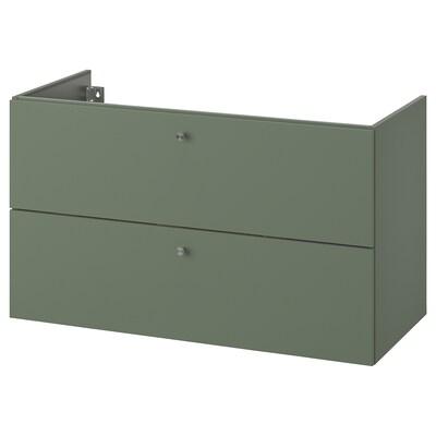 GODMORGON Skab til vask med 2 skuffer, Gillburen grågrøn, 100x47x58 cm