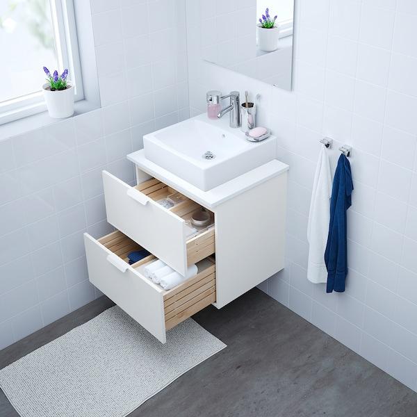 GODMORGON Skab til vask med 2 skuffer, hvid, 60x47x58 cm
