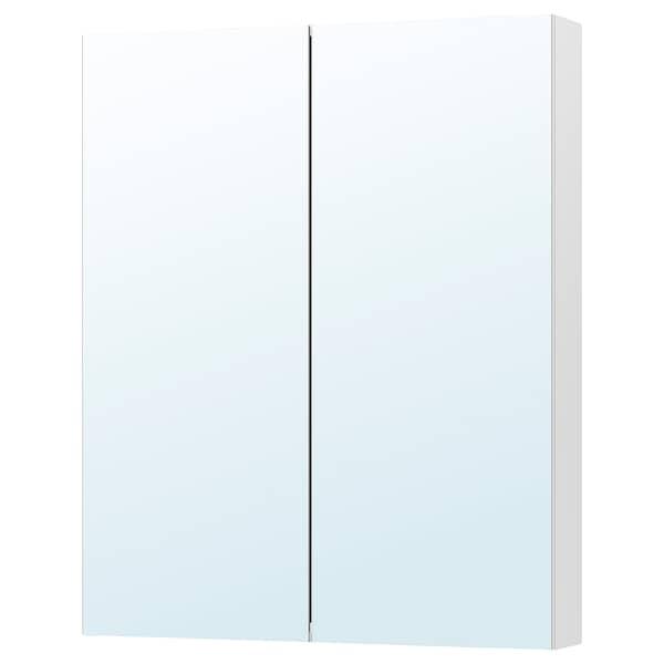 GODMORGON Spejlskab med 2 låger, hvid/spejl, 100x14x96 cm