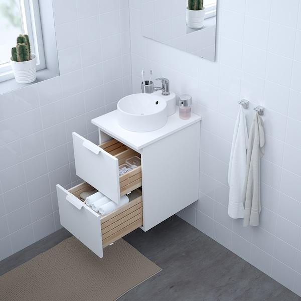 GODMORGON/TOLKEN / GUTVIKEN skab til vask med 29 vask bordplade hvid/hvid OLSKÄR blandingsbatteri 42 cm 49 cm 70 cm