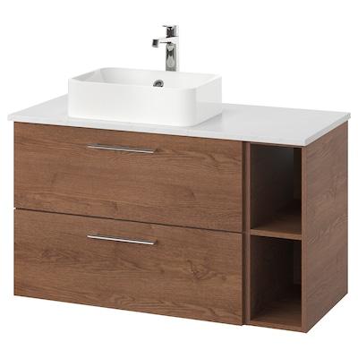 GODMORGON/TOLKEN / HÖRVIK Skab vask bordpla, 45 vask, Gillburen asketræsmønster med brun bejdse/marmormønstret BROGRUND blandingsbatteri, 102x49x72 cm