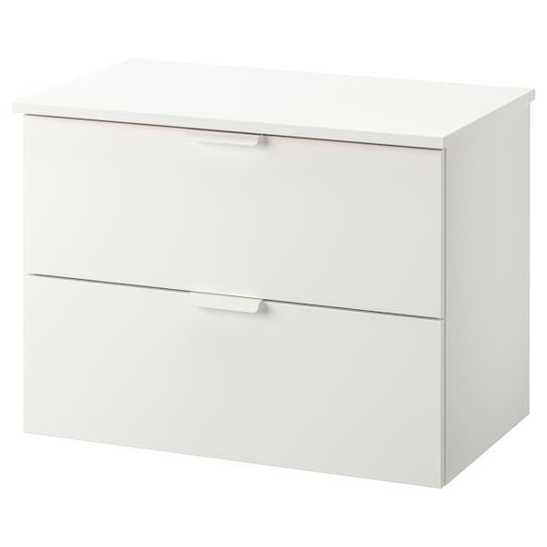 GODMORGON / TOLKEN Skab til vask med 2 skuffer, hvid/hvid, 82x49x60 cm