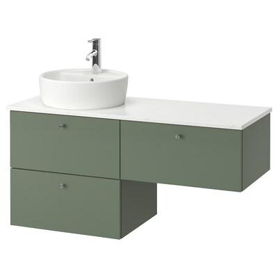 GODMORGON/TOLKEN / TÖRNVIKEN Skab til vask med 3 skuffer, Gillburen grågrøn/marmormønstret DALSKÄR blandingsbatteri, 122x49x74 cm