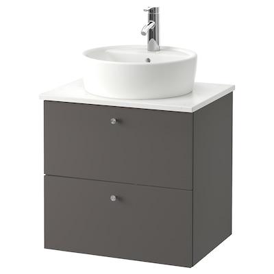 GODMORGON/TOLKEN / TÖRNVIKEN Skab vask bordpla, 45 vask, Gillburen mørkegrå/marmormønstret DALSKÄR blandingsbatteri, 62x49x74 cm