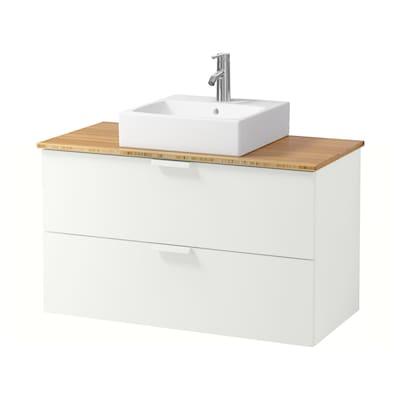 GODMORGON/TOLKEN / TÖRNVIKEN Skab vask bordpla, 45x45 vask, hvid/bambus DALSKÄR blandingsbatteri, 102x49x72 cm