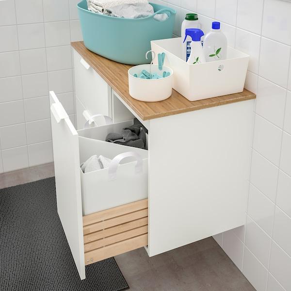 GODMORGON / TOLKEN skab til vask med 3 skuffer hvid/bambus 102 cm 49 cm 60 cm