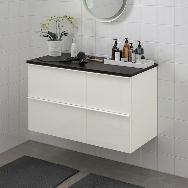 GODMORGON / TOLKEN skab til vask med 4 skuffer højglans hvid/antracit 102 cm 49 cm 60 cm