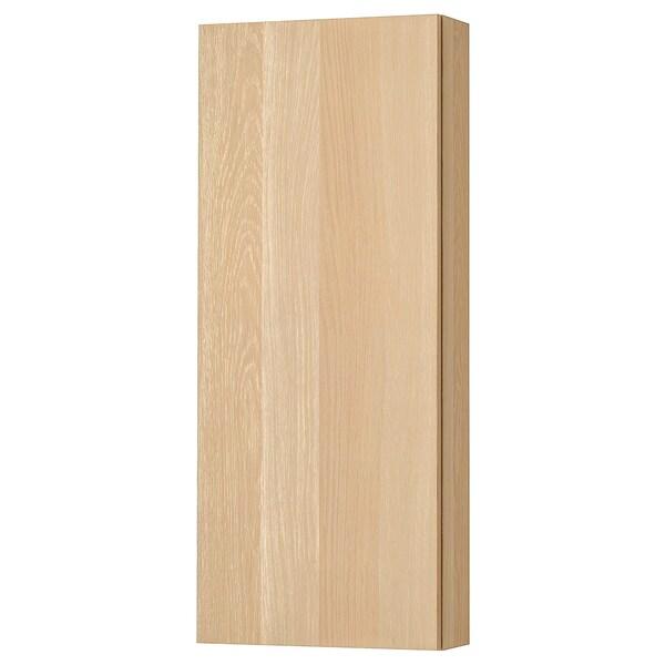 GODMORGON Vægskab med 1 låge, egetræsmønster med hvid bejdse, 40x14x96 cm