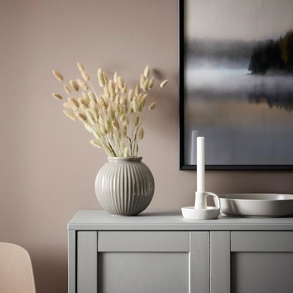 GODTAGBAR Lysestage, keramik hvid, 8 cm