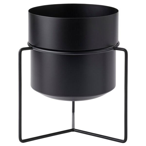 GOJIBÄR Krukke med stativ, indendørs/udendørs sort, 19 cm