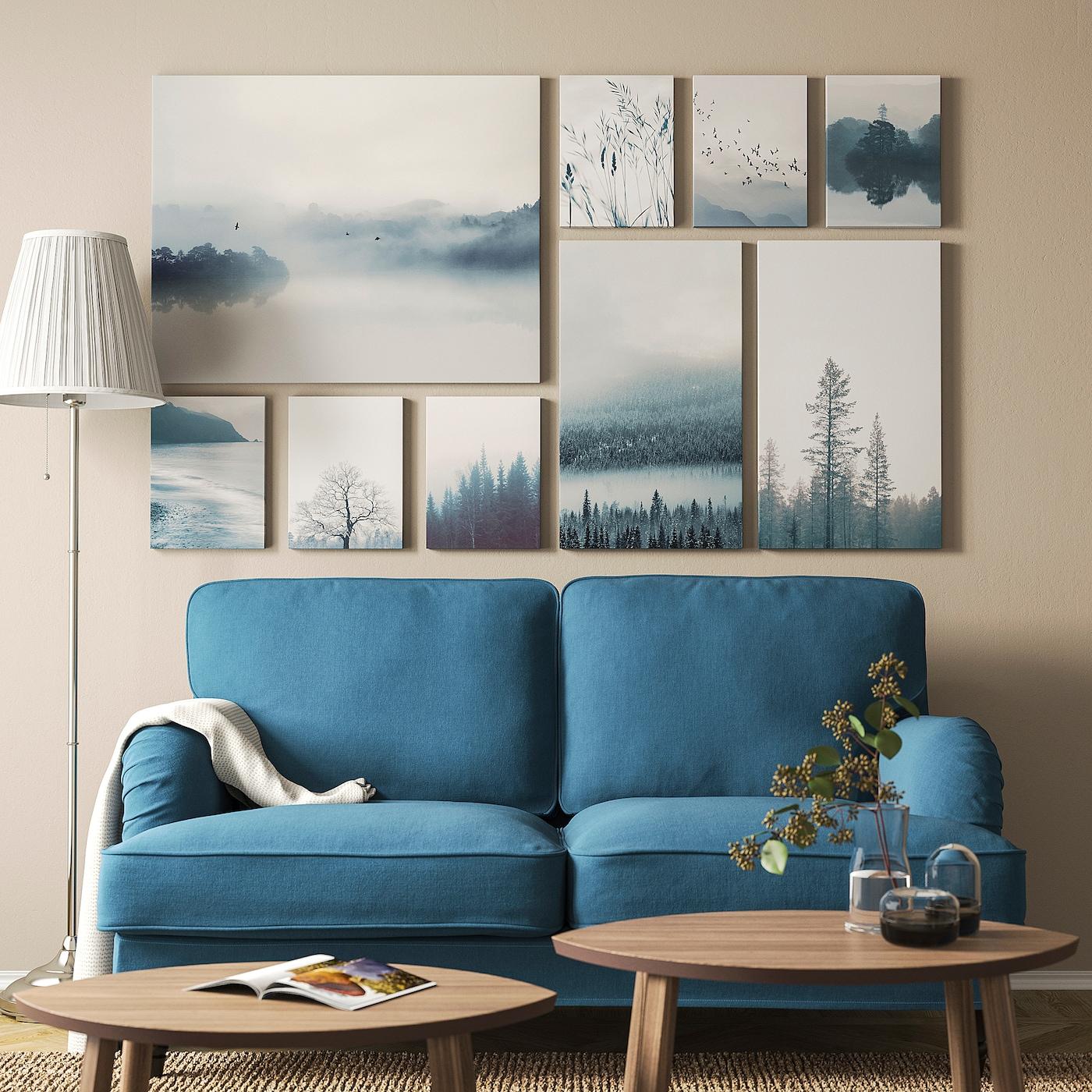 Picture of: Gronby Billeder 9 Stk Blue Landscape Ikea