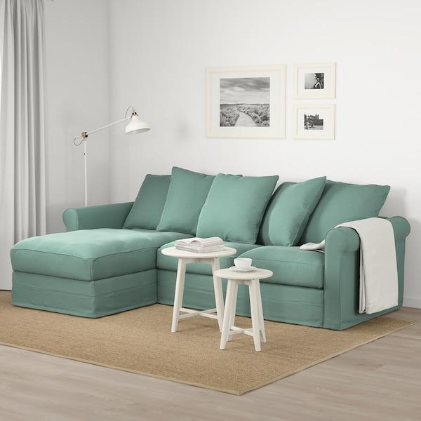 GRÖNLID 3-pers. sofa, med chaiselong/Ljungen lysegrøn