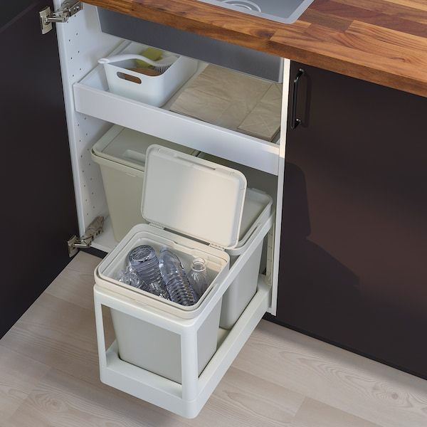 HÅLLBAR affaldssorteringsløsning med udtræk/lysegrå 20 l