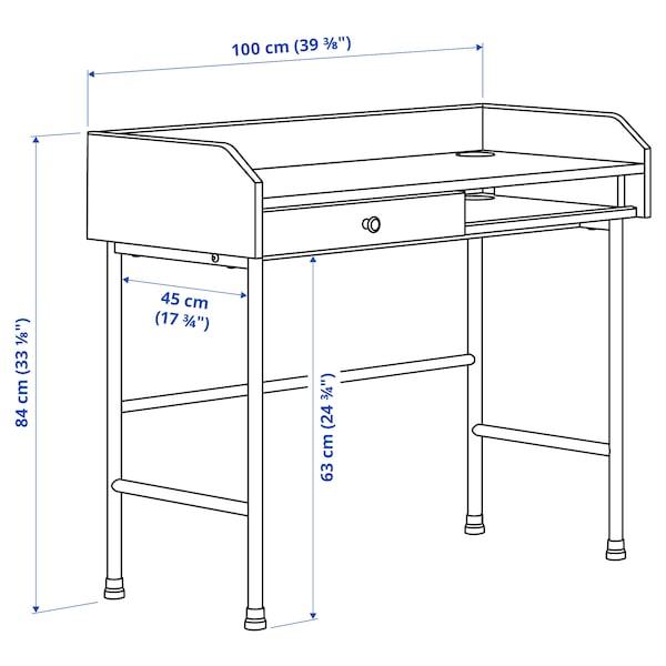 HAUGA/BLECKBERGET Skrivebords- og opbevaringskombina, og drejestol grå