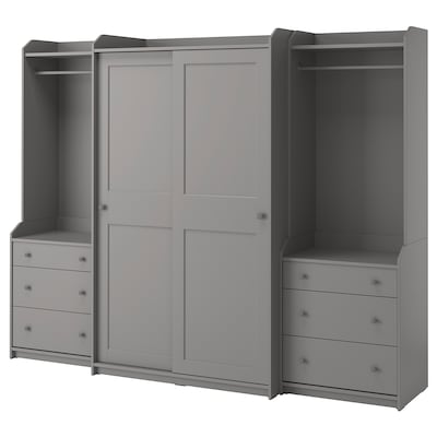 HAUGA Garderobekombination, grå, 258x55x199 cm