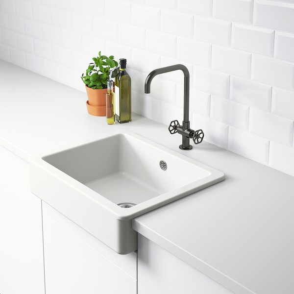 HAVSEN Vask med synlig front, hvid, 62x48 cm