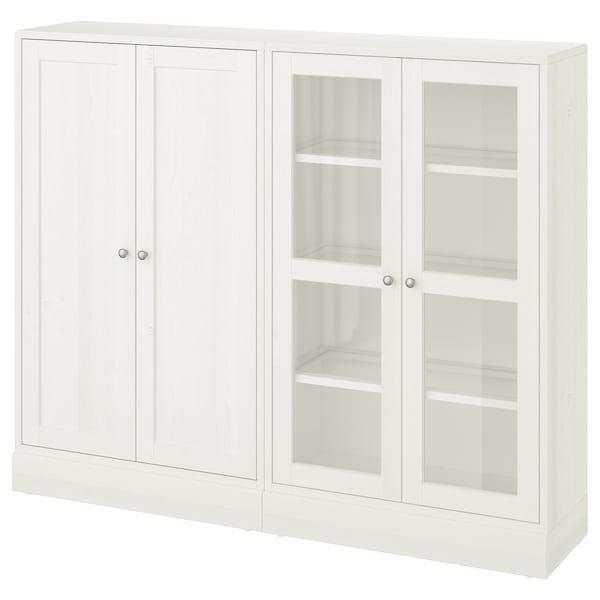 HAVSTA Opbevaring med vitrinelåger, hvid, 162x37x134 cm