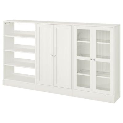 HAVSTA Opbevaring med vitrinelåger, hvid, 243x37x134 cm