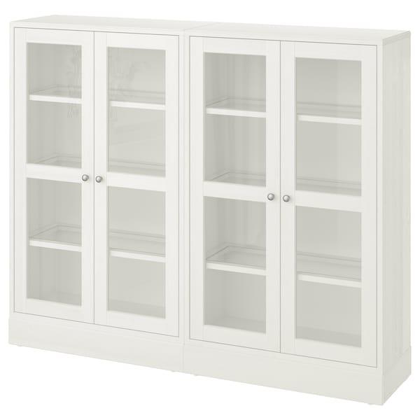 HAVSTA Opbevaringsløsning med vitrinelåger, hvid, 162x37x134 cm