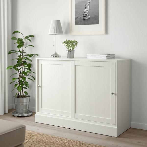 HAVSTA Skab med sokkel, hvid, 121x47x89 cm