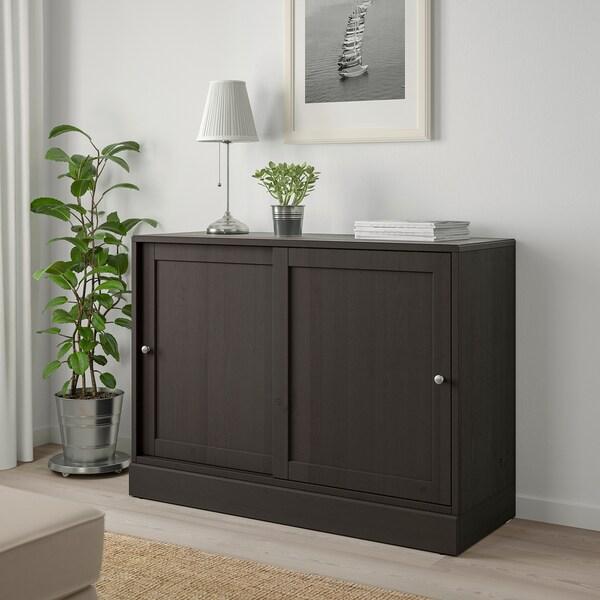 HAVSTA Skab med sokkel, mørkebrun, 121x47x89 cm