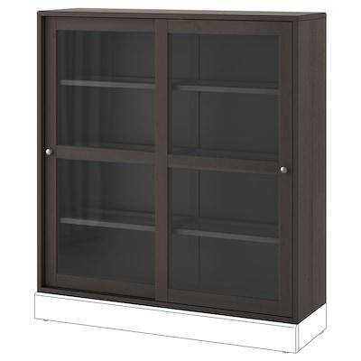 HAVSTA Vitrineskab, mørkebrun, 121x35x123 cm