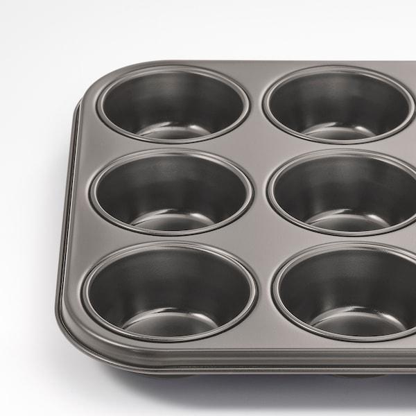 HEMMABAK Muffinform, grå, 38x27 cm