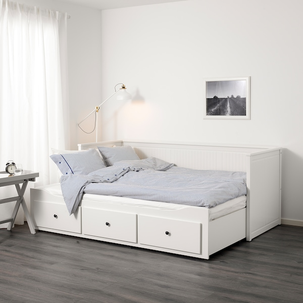HEMNES sovesofa 3 skuffer/2 madrasser hvid/Moshult fast 18 cm 209 cm 89 cm 83 cm 55 cm 70 cm 168 cm 202 cm 200 cm 80 cm