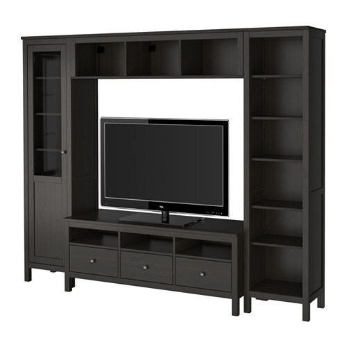 hemnes tv m bel kombination sortbrun ikea. Black Bedroom Furniture Sets. Home Design Ideas