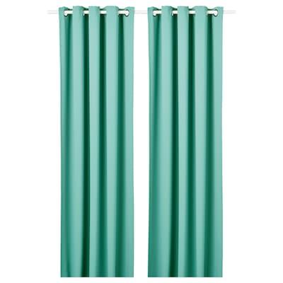 HILLEBORG Lysdæmpende gardiner, 2 stk., turkis, 145x250 cm