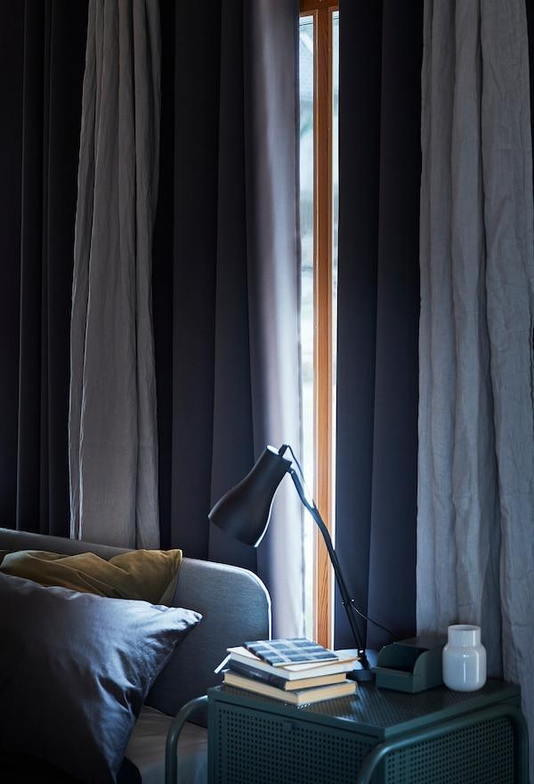 HILLEBORG Mørklægningsgardiner, 2 stk., grå, 145x250 cm