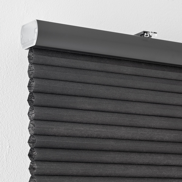 HOPPVALS plissegardin grå 155 cm 130 cm 2.02 m²