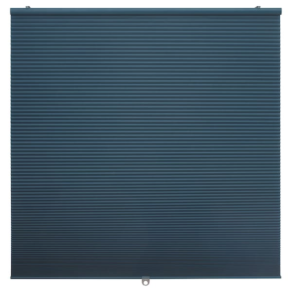 HOPPVALS Lysdæmpende plissegardin, blå, 100x155 cm