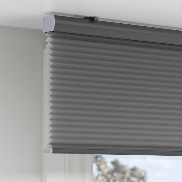 HOPPVALS Plissegardin, grå, 110x155 cm