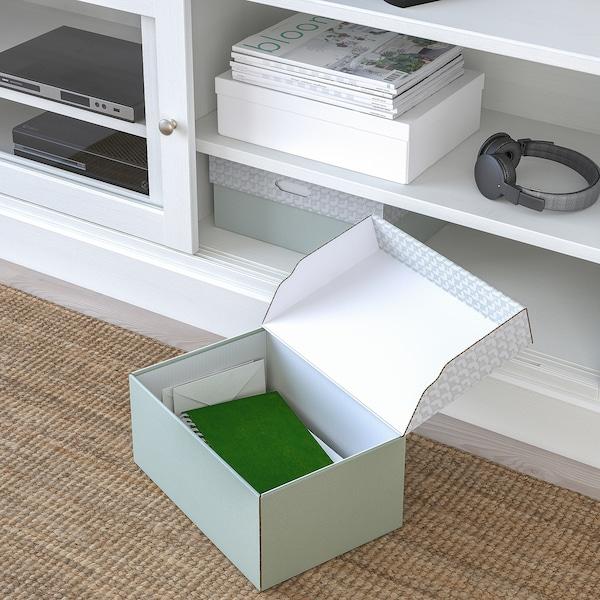 HYVENS Kasse med låg, grågrøn hvid/papir, 33x23x15 cm