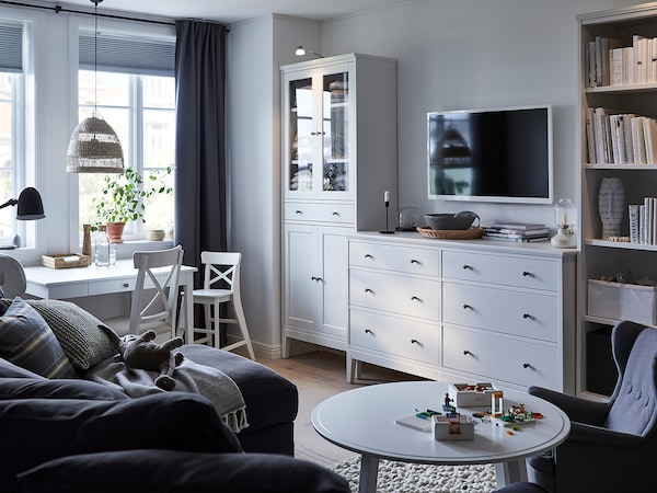 IDANÄS Højskab m vitrinedø og 1 skuffe, hvid, 81x39x211 cm