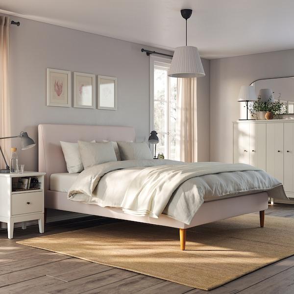 IDANÄS Polstret sengestel, Gunnared lys pink, 160x200 cm