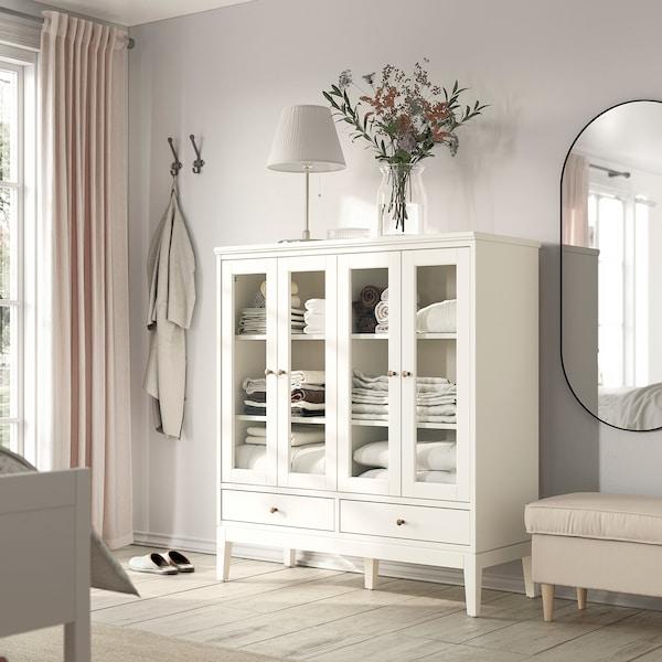 IDANÄS Skab med vitrinelåger, foldes, hvid, 121x50x135 cm