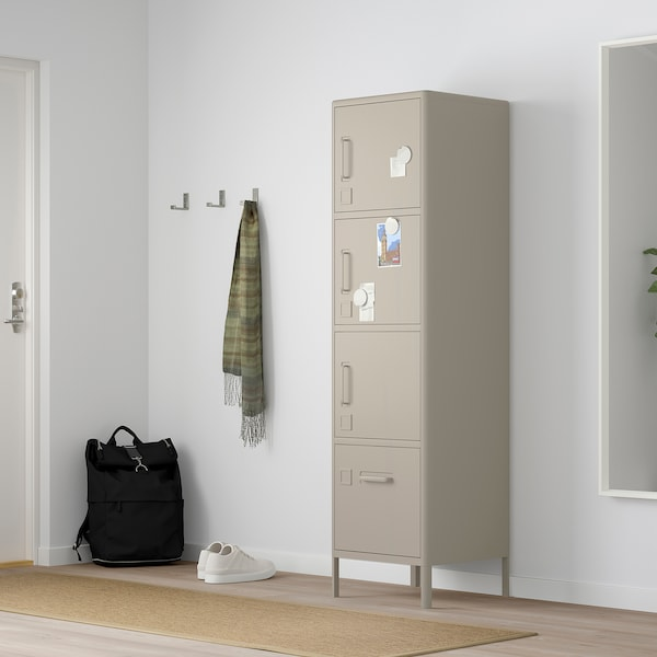 IDÅSEN Højskab med trådløs lås, beige, 45x172 cm