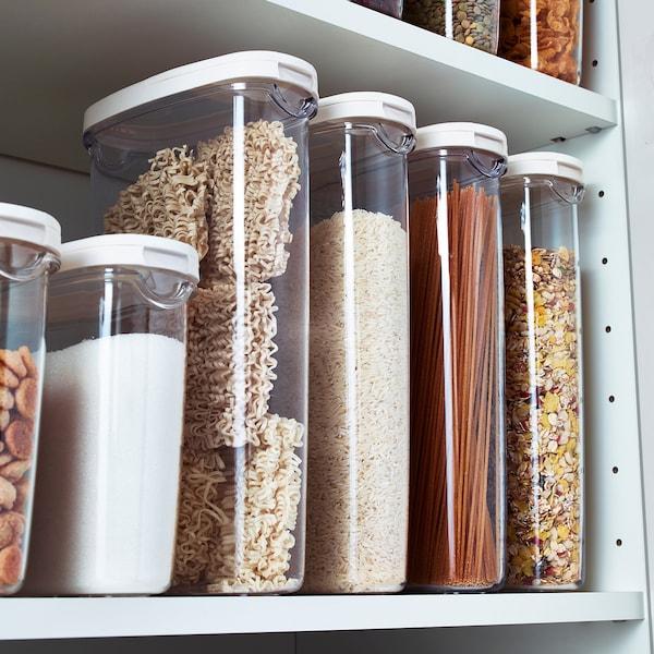 IKEA 365+ opbevaring med låg til tørvarer transparent/hvid 17 cm 8 cm 30 cm 2.3 l