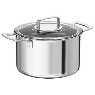 IKEA 365+ Gryde med låg, rustfrit stål/glas, 5 l