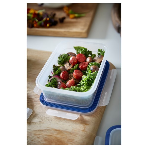 IKEA 365+ Madopbevaringsboks med låg, rektangulær/plast, 1.0 l