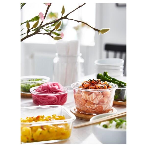 IKEA 365+ Madopbevaringsboks med låg, rundt glas/bambus, 600 ml