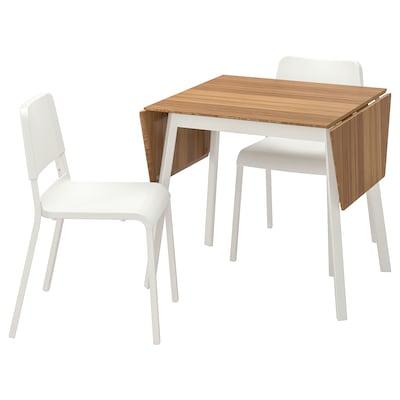 IKEA PS 2012 / TEODORES Bord og 2 stole, bambus hvid/hvid