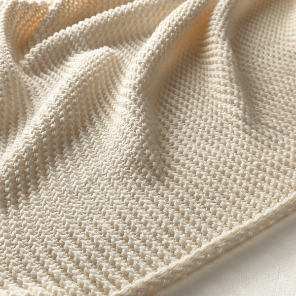 INGABRITTA Plaid, råhvid, 130x170 cm